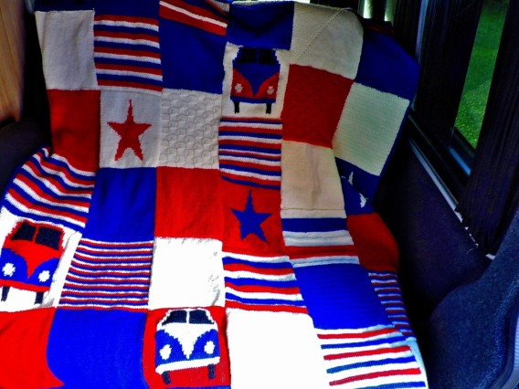A blanket knitted by my mother for their camper van.