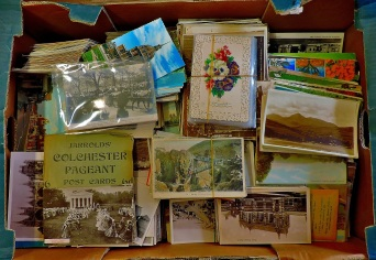 This vast collection fo postcards came by post from Belgium!