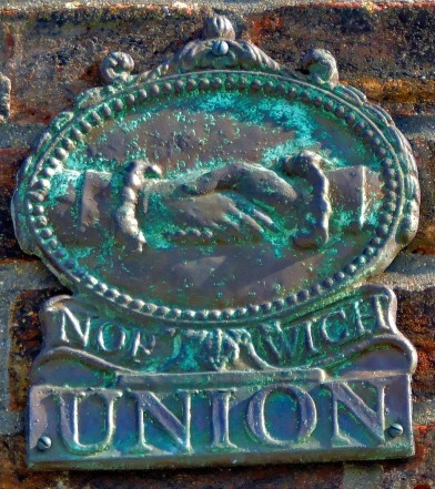 This bronze Norwich Union plaque is the only one of its kind I have seen - it is to be spotted near the Catholic Church