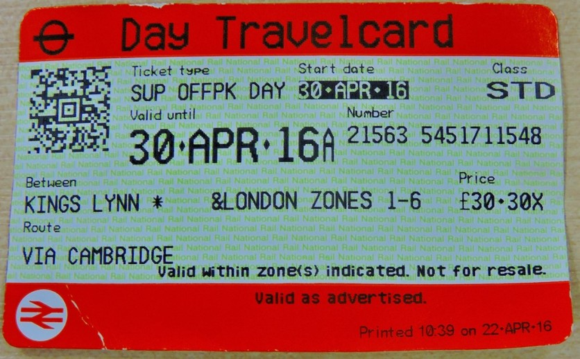 The ticket - effectively £6.30 for a day's unlimited travel in zones 1-6 (a day return is £24)