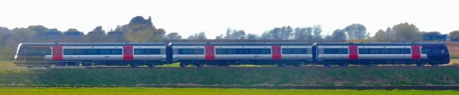 Just beyond Ely, a perfect shot of a cross-country train where the routes diverge.