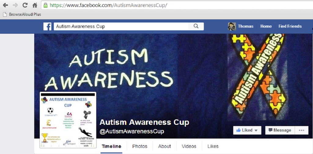 Autism Awareness Cup Facebook Page
