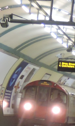 A Piccadilly line train arrives