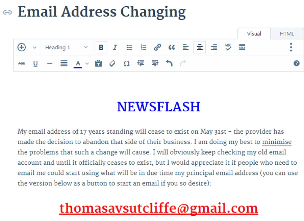 Email Address Changing