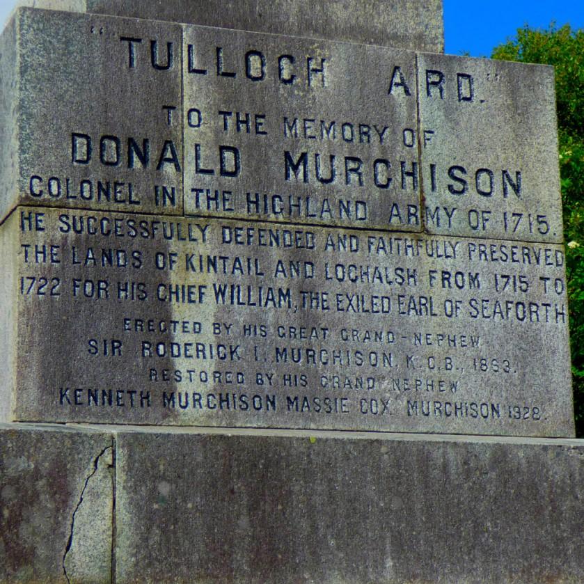 Murchison Monument Inscription