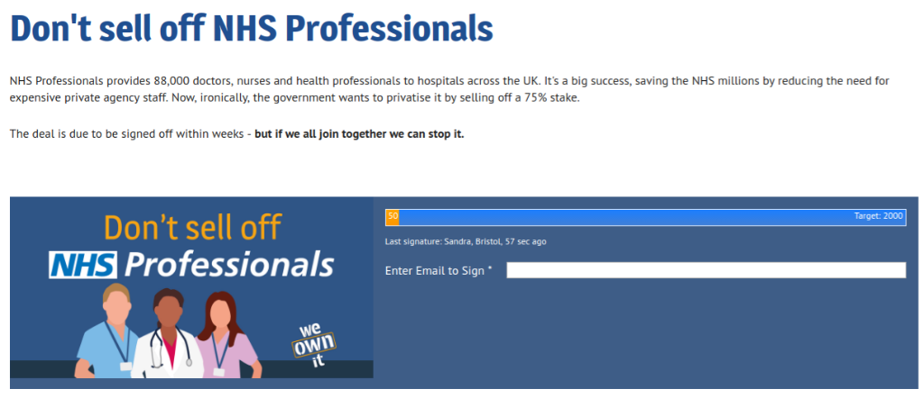 Petition: Don't sell off NHS Professionals