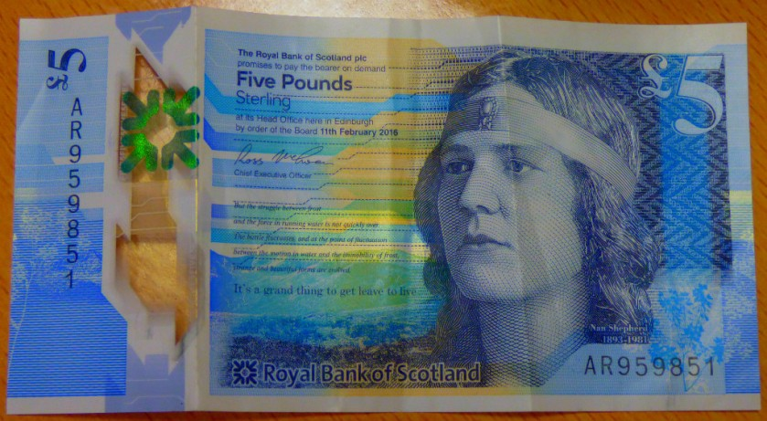 Scottish £5 reverse