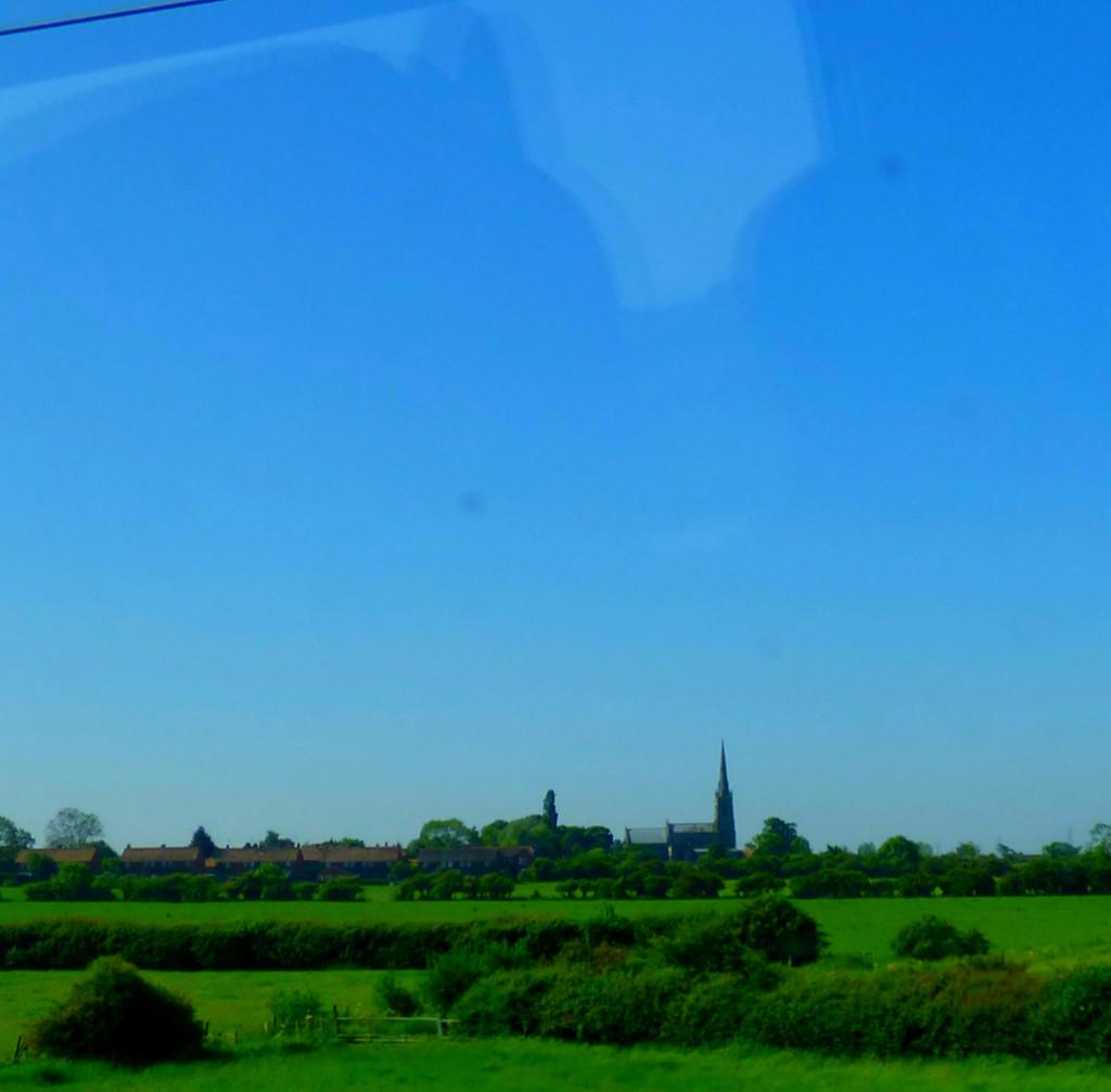 Village viewed from train