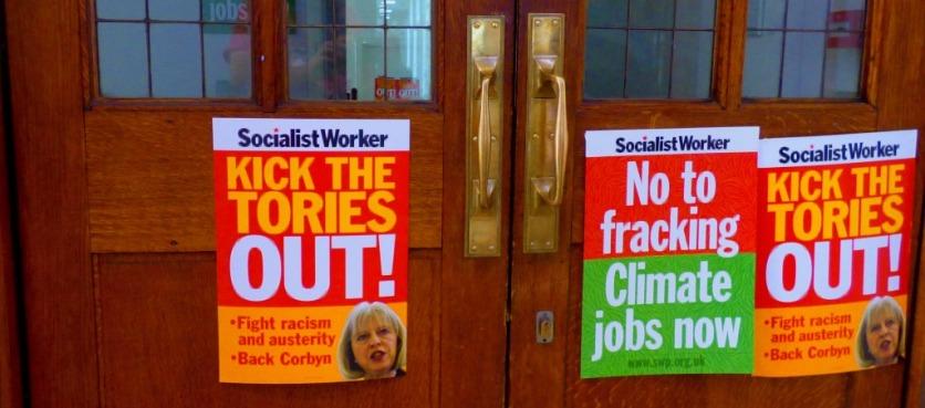 Posters on door