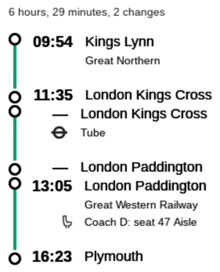 "This is a little stretched out, but I for one would not care to be on a train the was due to arrive at Kings Cross at 12:35 when I had to make a connection at Paddington at 13:05 - given British public transport's usual ""punctuality"" that would be courting disaster."