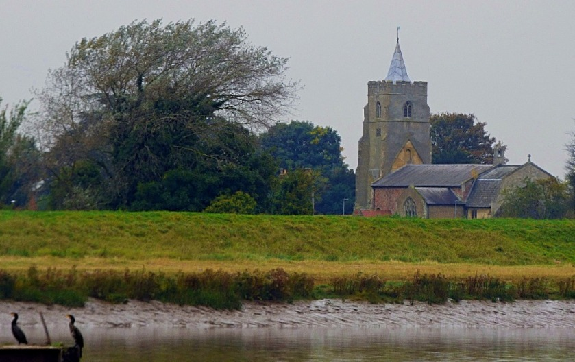 Cormorants and church