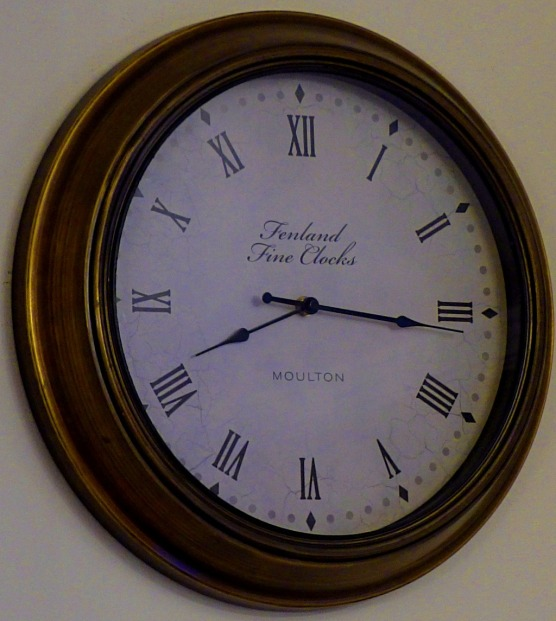 The clock in the Erpingham room, just before my colleagues arrived.