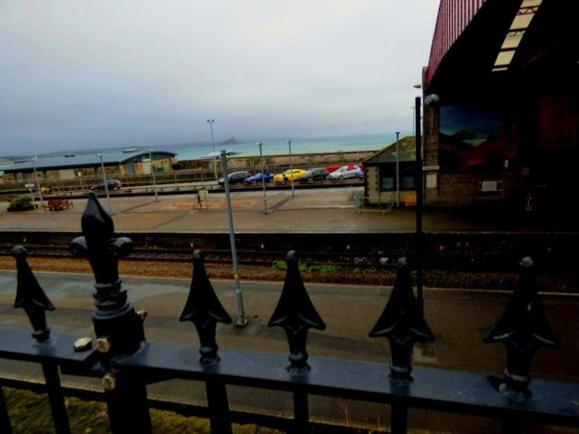 Looking across the station