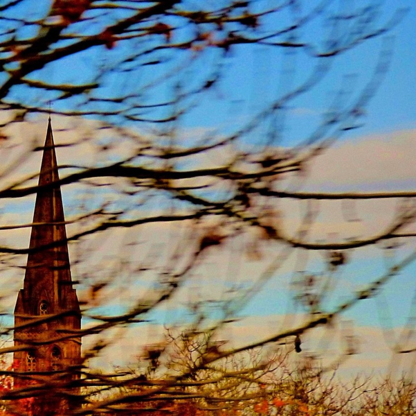 Spire through trees