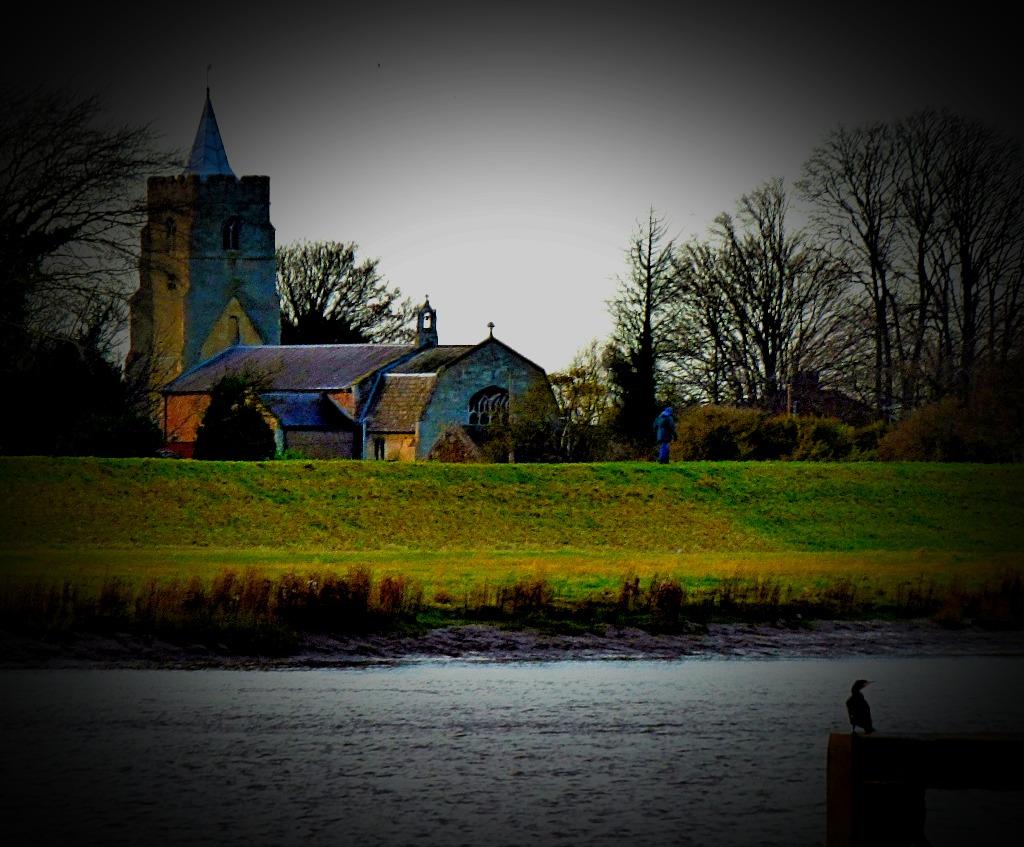 Church and cormorant