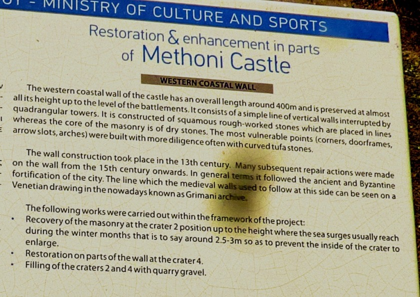 Restoration of Methoni Castle
