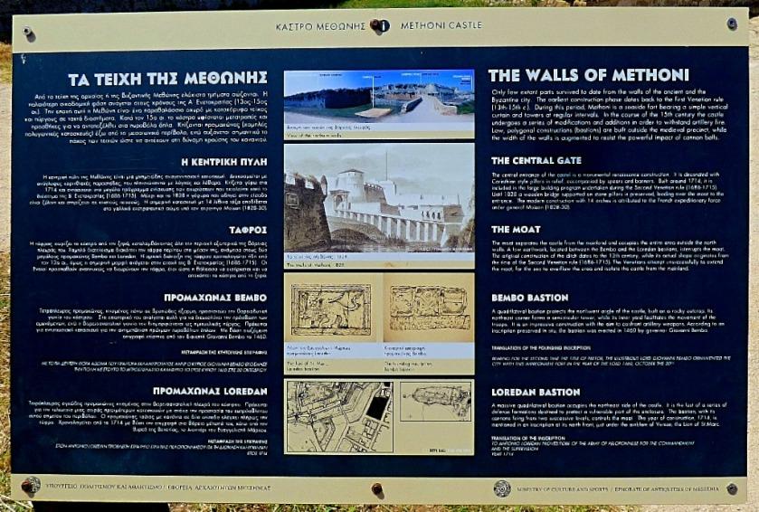 Walls of Methoni information board