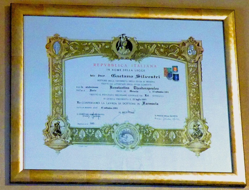 certificate at the pharmacy