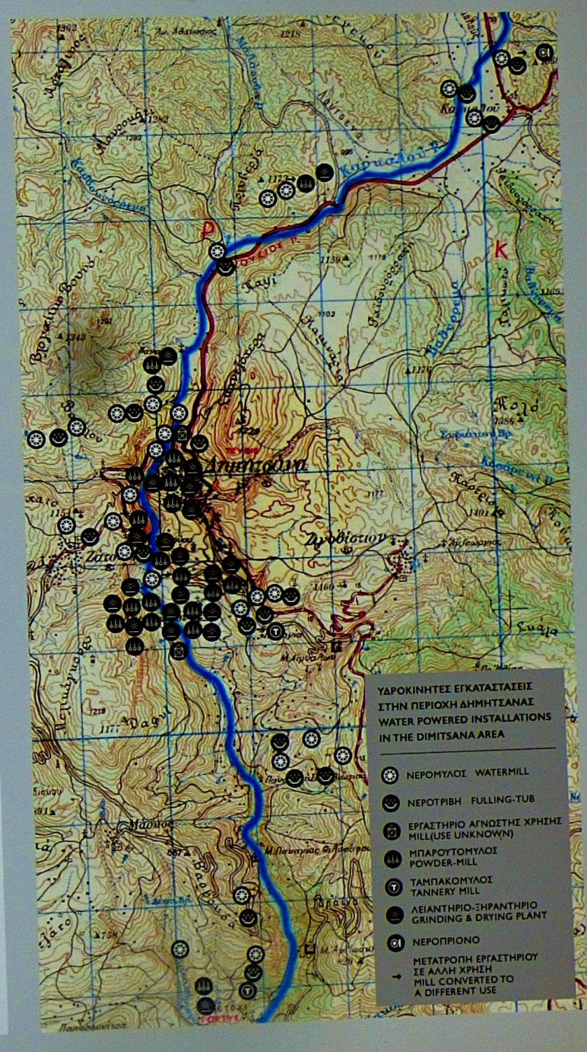 Water poweredinstallations in the Dimitsana area