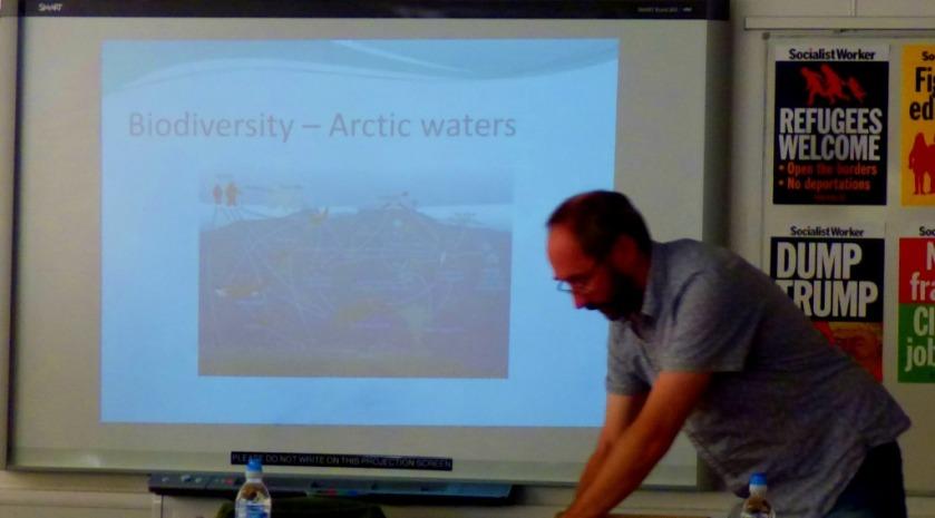 Ian adjusts the slide show