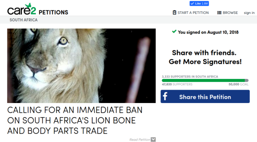 Ban trade in lion parts