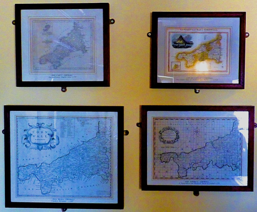 Four antique maps of Cornwall