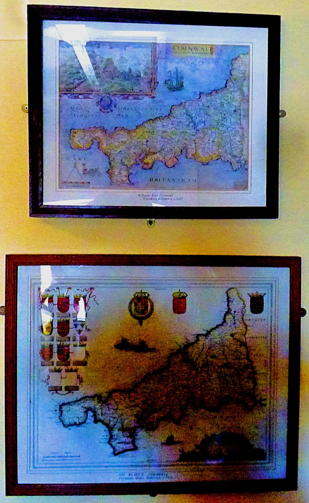 two antique maps of Cornwall