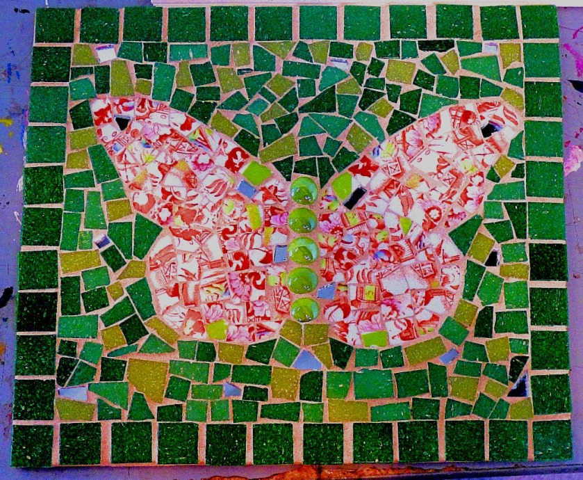 Butterfly set in mosaic frame