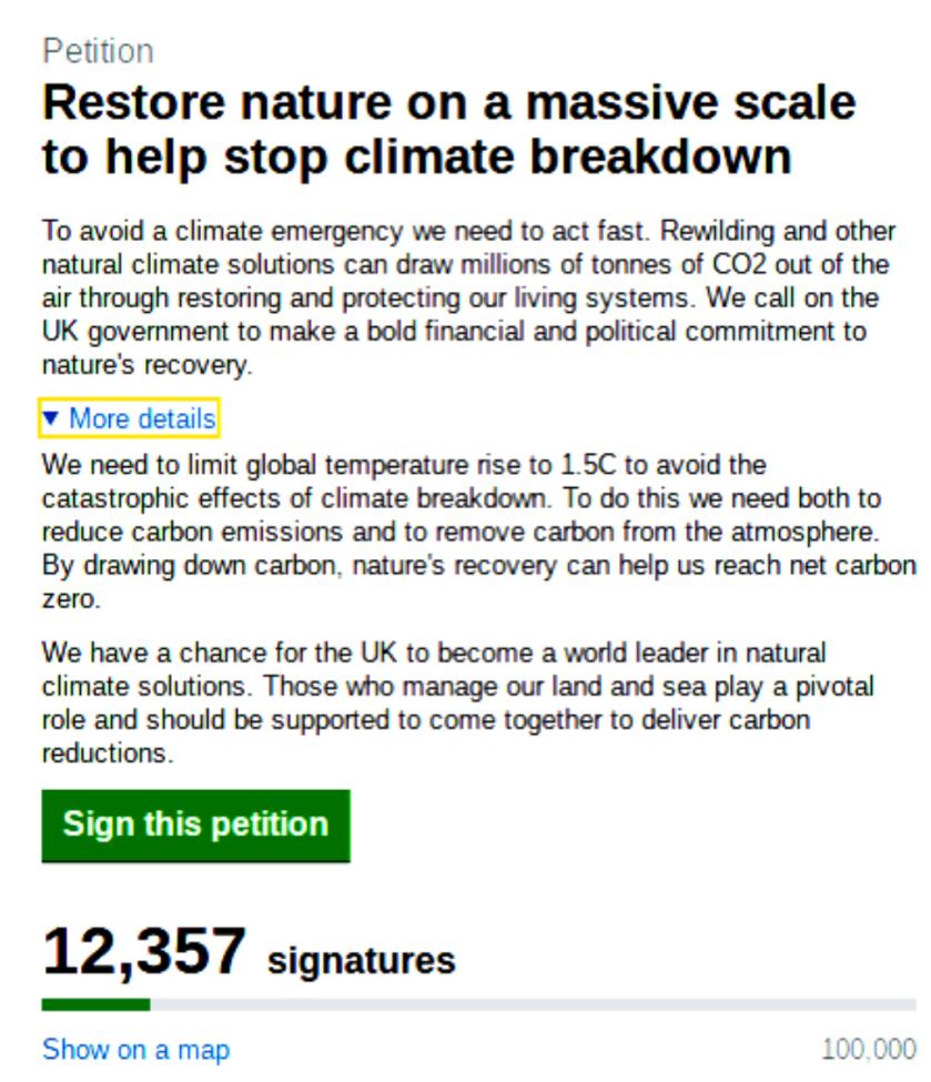 Rewilding petition