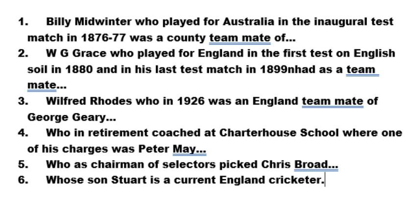 Test cricket chain