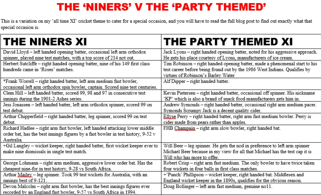 All Time XIs – Niners v Party Themed