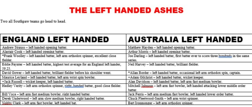 Left Handed Ashes