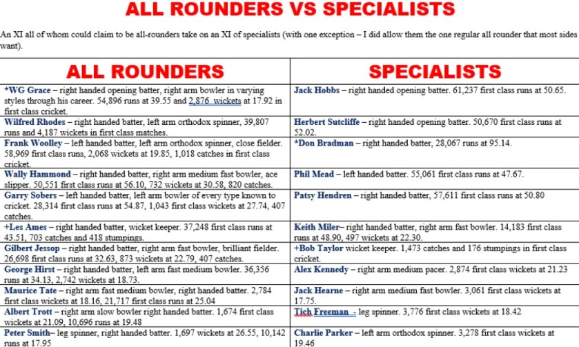 All Rounders v Specialists