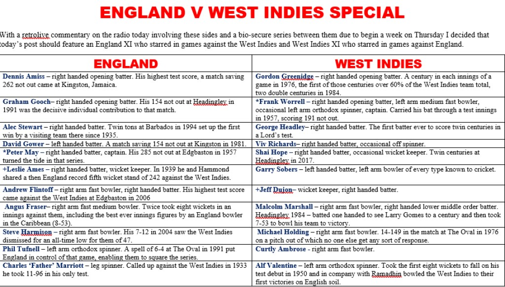 All Time XIs – England v West Indies Special