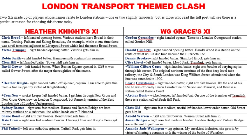 All Time XIs – The London Transport Clash