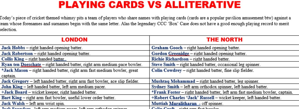 All Time XIs – Playing Cards vs Alliterative