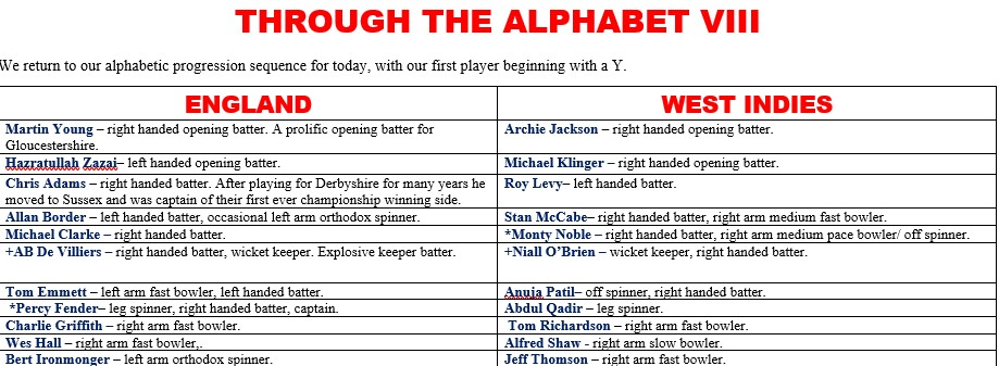 All Time XIs – Through the Alphabet VIII