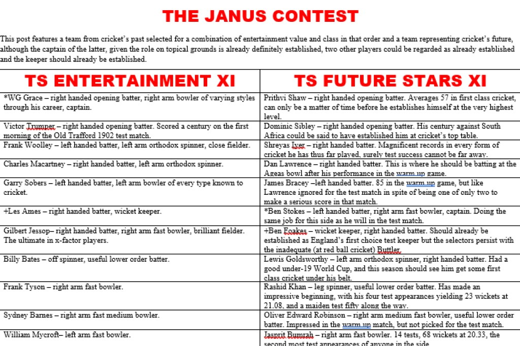 All Time XIs – The Janus Contest