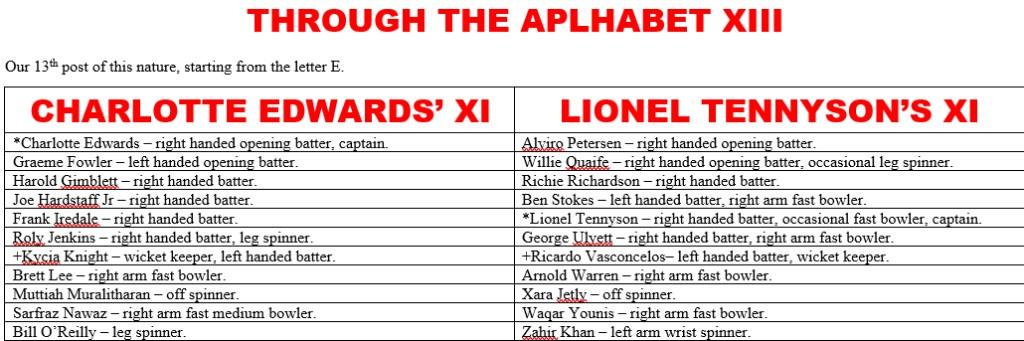 All Time XIs – Through The AlphabetXIII