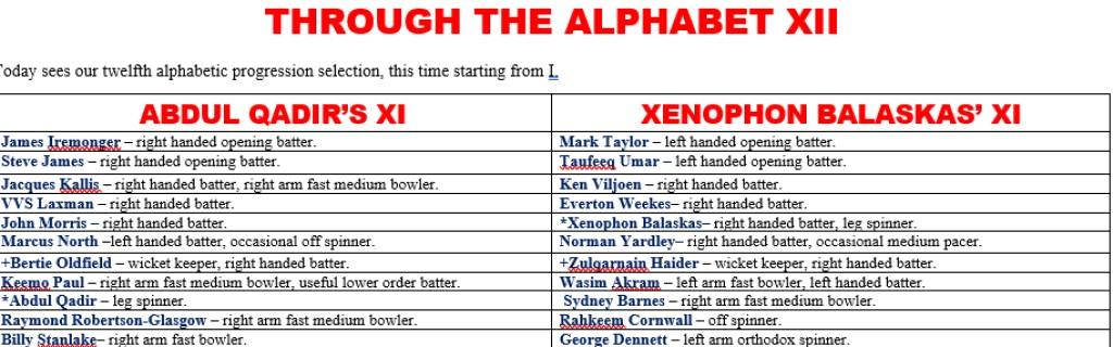 All Time XIs – Through The AlphabetXII
