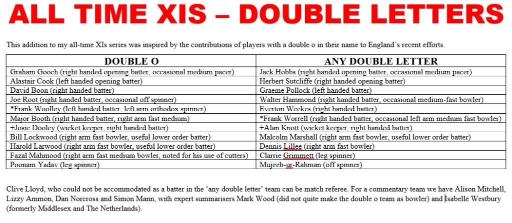 All Time XIs – Double Letters