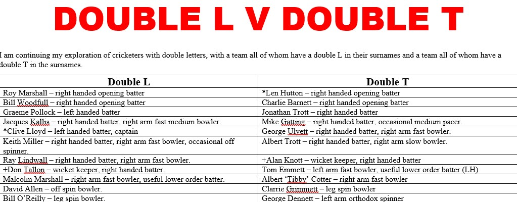 All Time XIs – Double L v Double T