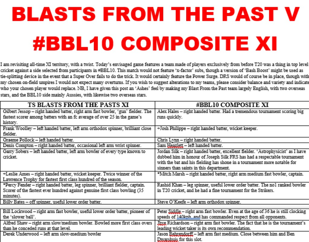 Blasts From The Past v #BBL10Composite